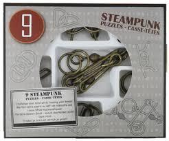 9 метални пъзела steampunk сив