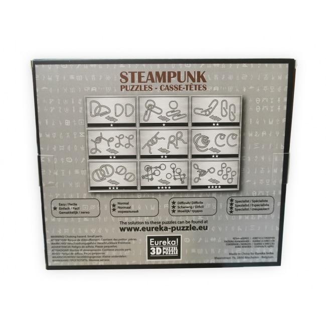 9 метални пъзела steampunk сив гръб