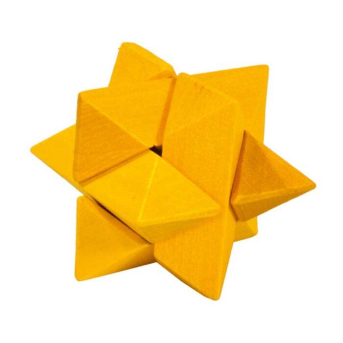 Логически мини бамбуков пъзел Yellow Superstar Fridolin