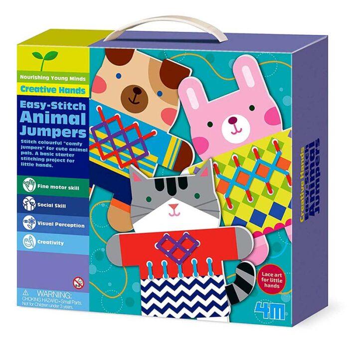 Образователен комплект Easy-Stich Animal Jumpers 4M Лесно оплети животински пуловерчета кутия