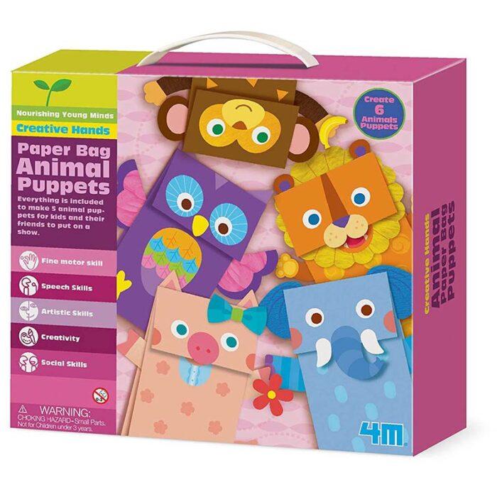 Образователен комплект Paper Bag Animial Puppets 4M Животни от хартиени пликове куитя