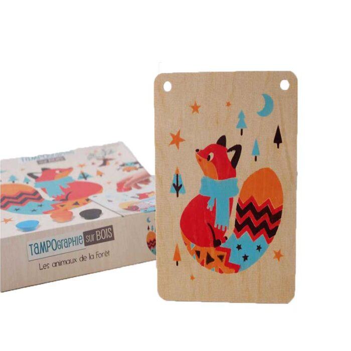 Образователен комплект Горски животни Crealign кутия и дървена рисунка