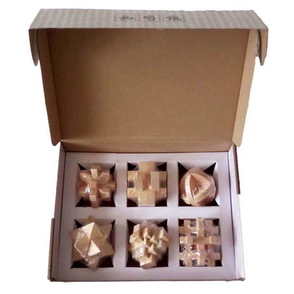 Дървен пъзел комплект 6 игри кутия2