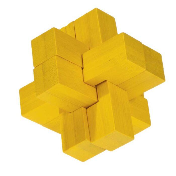 Бамбуков пъзел Block Cross Yellow Fridolin кръст