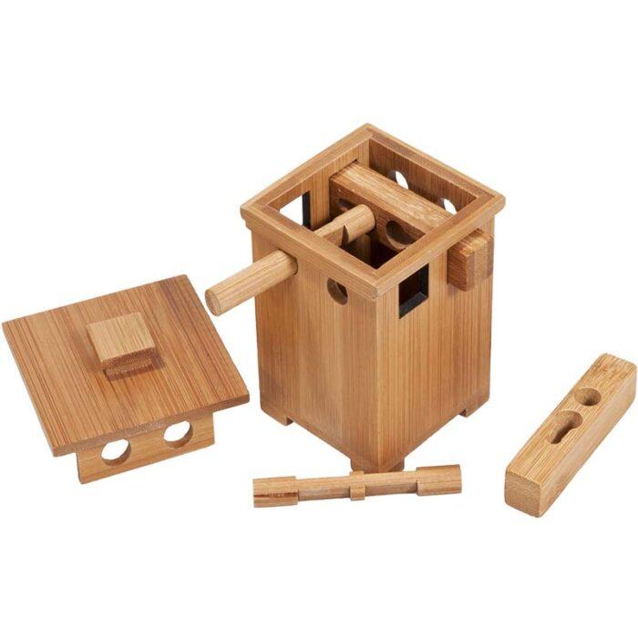 Бамбуков пъзел сейф Bamboo Safe 2 Fridolin разглобен