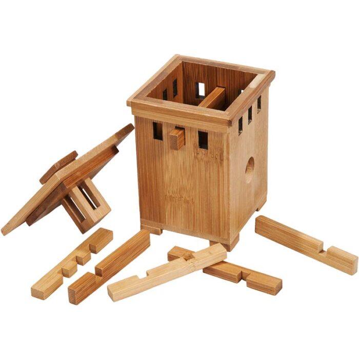 Бамбуков пъзел сейф Bamboo safe 1 Fridolin разглобен