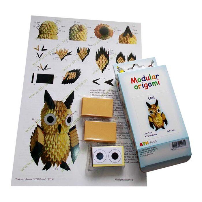Модулно оригами Бухал Modular Origami Owl схема
