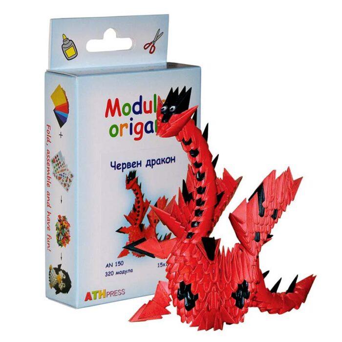 Модулно оригами Червен дракон Modular Origami Red dragon куитя и дракон