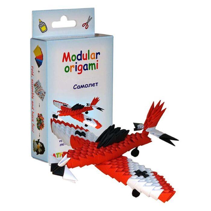 Модулно оригами Червен Самолет Modular Origami Red Plane куитя и червен самолет