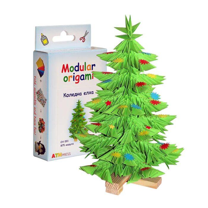 Модулно оригами Коледно Дърво Modular Origami Christmas Tree кутия и коледна елха
