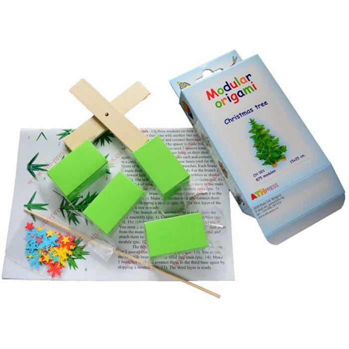 Модулно оригами Коледно Дърво Modular Origami Christmas Tree кутия и схема за сглобяване