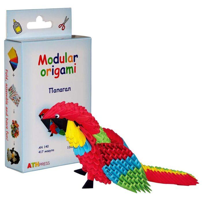 Модулно оригами Папагал Modular Origami Parrot кутия и папагал