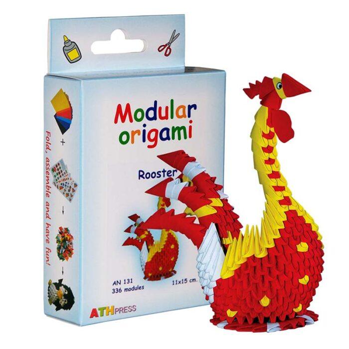 Модулно оригами Петел Modular Origami Rooster Кутия и петел
