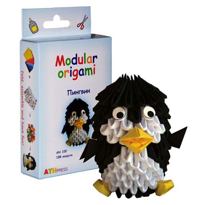 Модулно оригами Пингвин Modular Origami Penguin кутия и пингвин