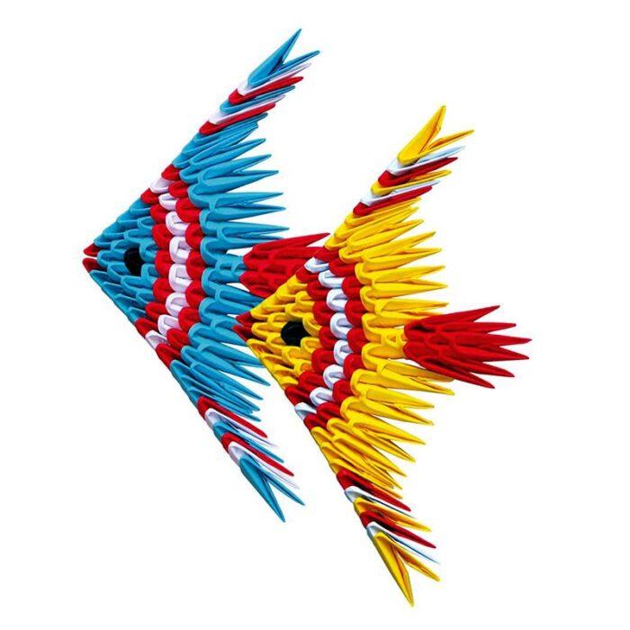 Модулно оригами Рибки Modular Origami Fish синя и жълта рибка