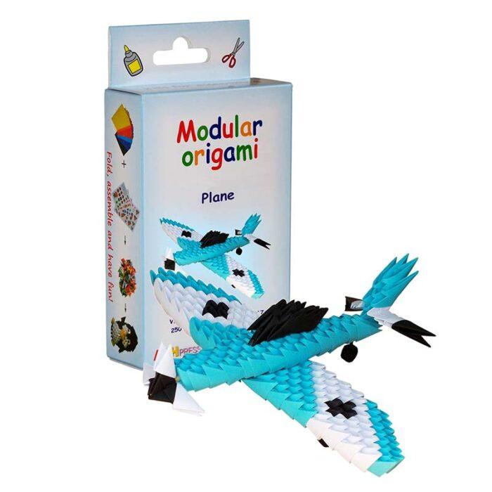 Модулно оригами Син Самолет Modular Origami Blue Plane кутия и син самолет
