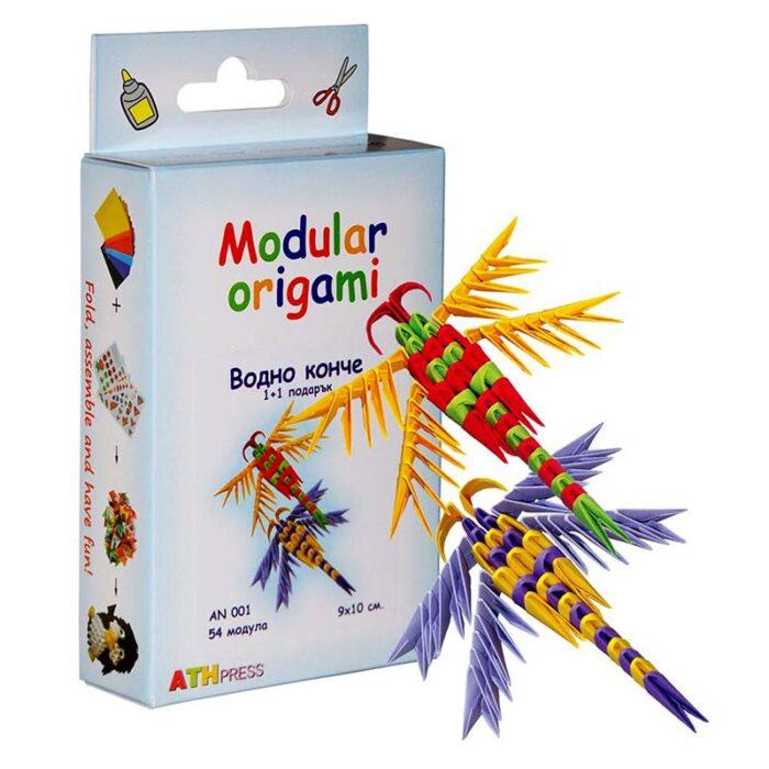 Модулно оригами Водно конче Modular Origami Dragonfly кутия и водно конче
