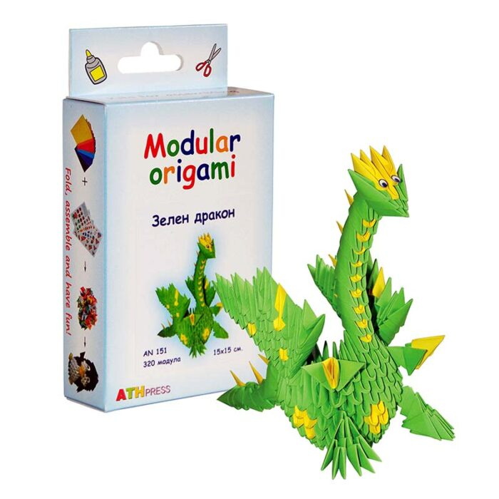 Модулно оригами Зелен Дракон Modular Origami Green Dragon кутия и зелен дракон