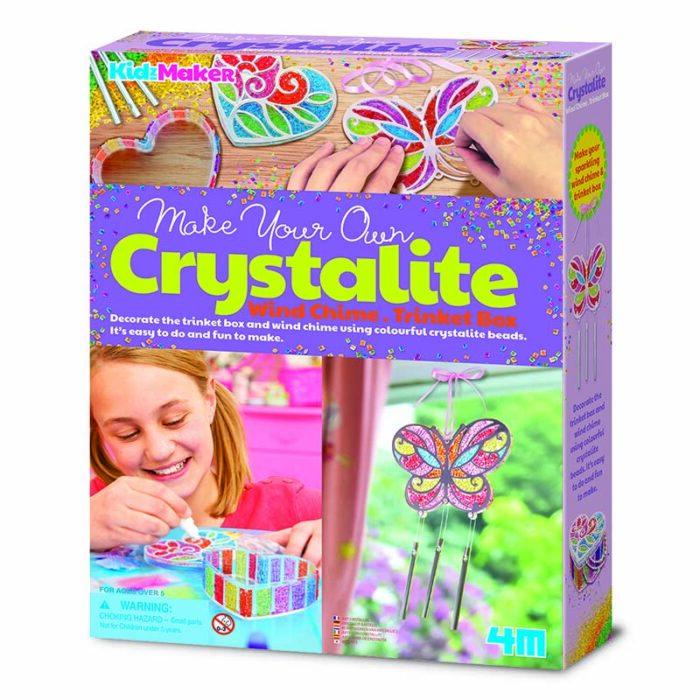 Образователен комплект Crystalite 4M Кутия за бижута и вятърни камбанки от кристални маниста
