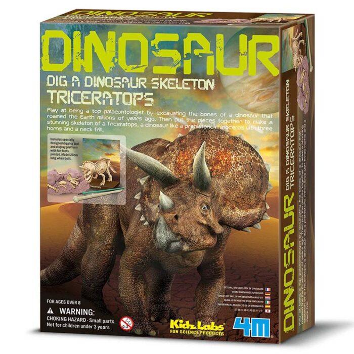 Образователен комплект Dig a Didnosaur Skeleton Triceratops Изкопай скелет на динозавър Трицератопс кутия