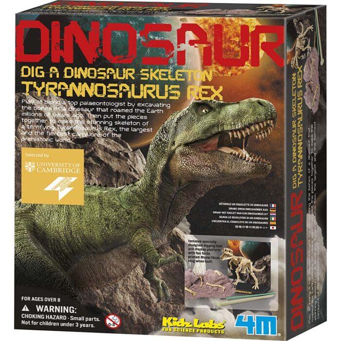 Образователен комплект Dig a Didnosaur Skeleton Tyrannosaur Rex Изкопай скелет на динозавър Тиранозавър Рекс кутия