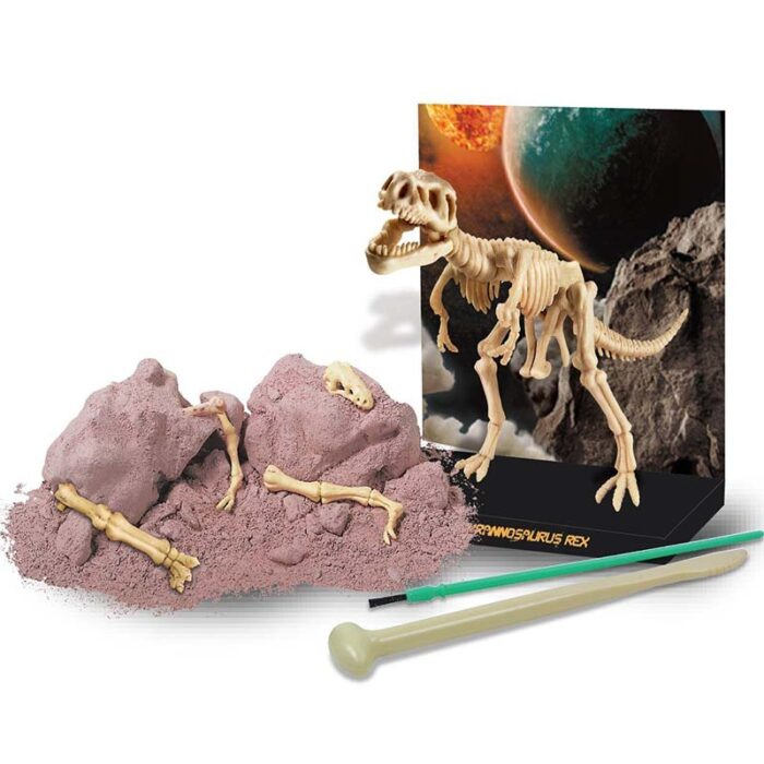 Образователен комплект Dig a Didnosaur Skeleton Tyrannosaur Rex Изкопай скелет на динозавър Тиранозавър Рекс материали