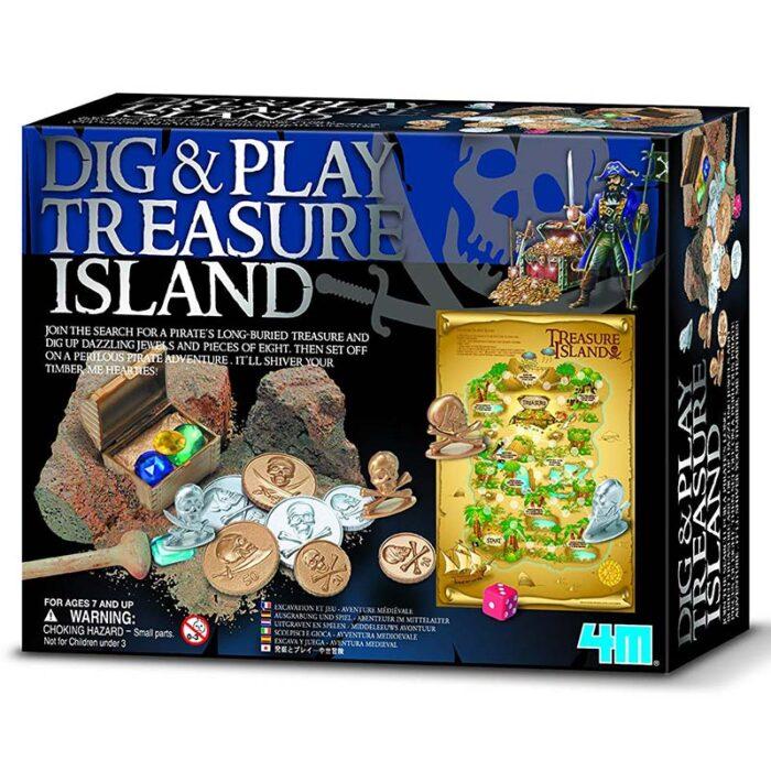 Образователен комплект Dig and Play Treasure Island 4M Островът на съкровищата кутия