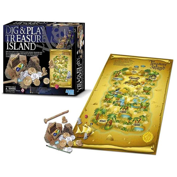 Образователен комплект Dig and Play Treasure Island 4M Островът на съкровищата кутия и настолна игра