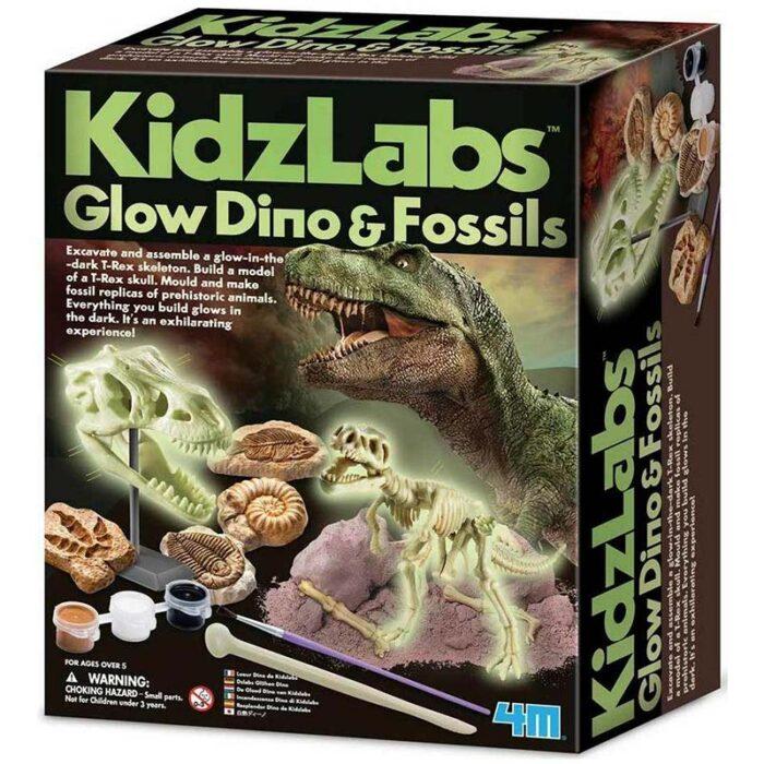 Образователен комплект Glow Dino & Fossils Светещ динозавър и фосили кутия