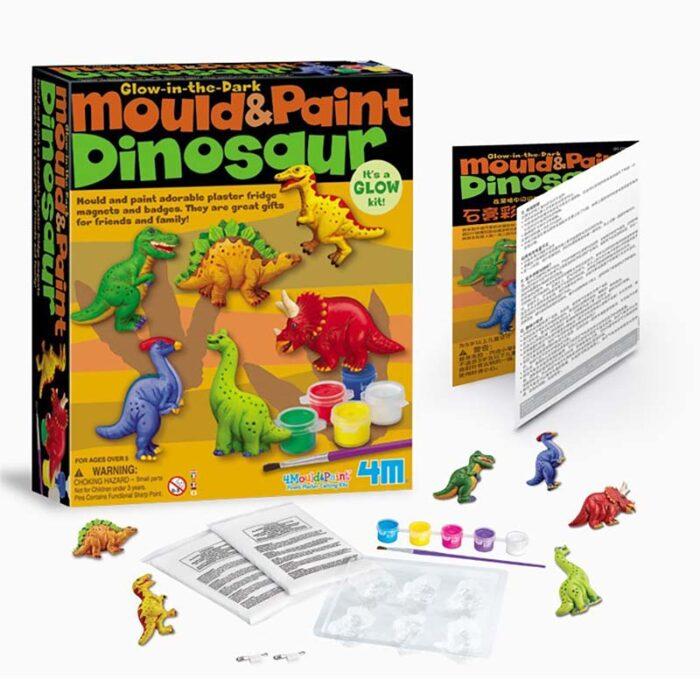 Образователен комплект Mould and Paint Dinosaurs 4M Оформи и оцвети динозаври материали и съдържание
