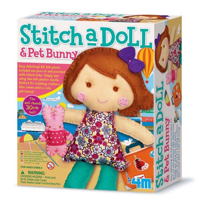 Образователен комплект Stich a Doll and pet Bunny 4M Ушии кукла със зайче кутия