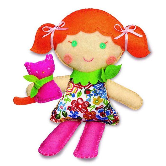 Образователен комплект Stich a Doll and pet Kitty 4M Ушии кукла с котенце