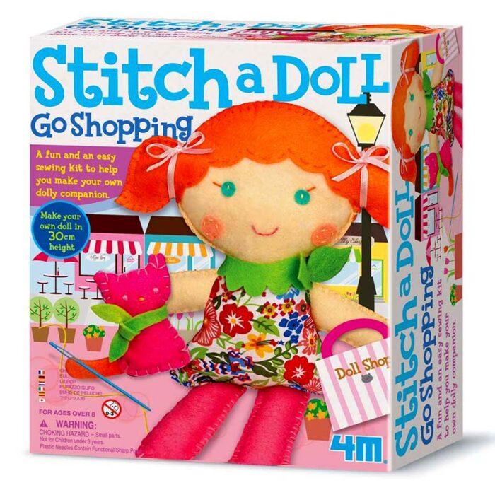 Образователен комплект Stich a Doll and pet Kitty 4M Ушии кукла с котенце кутия
