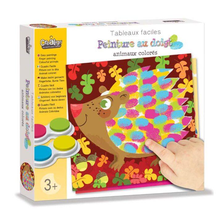 Образователен комплект Рисуване с пръсти Цветни животни Crealign кутия
