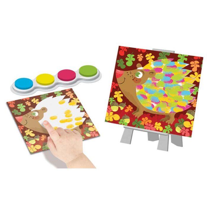 Образователен комплект Рисуване с пръсти Цветни животни Crealign таралеж