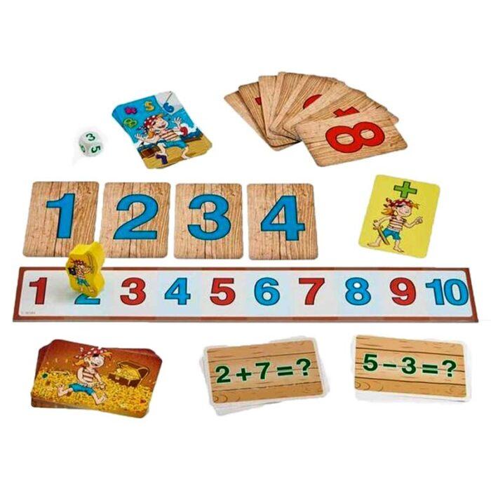 Образователна игра Числата на пиратите пирати и числа и карти HABA