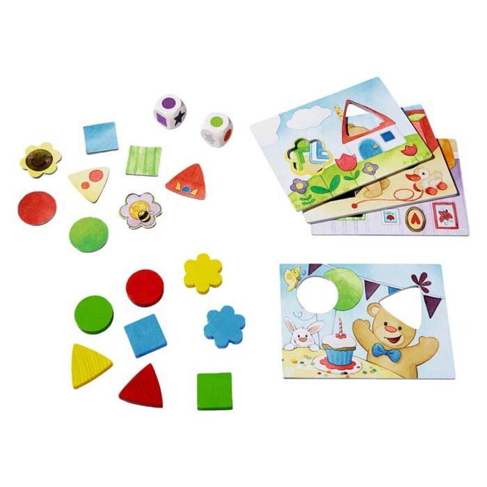 Образователна игра Форми и цветове на Теди дървени форм с различни цветове и зарове HABA