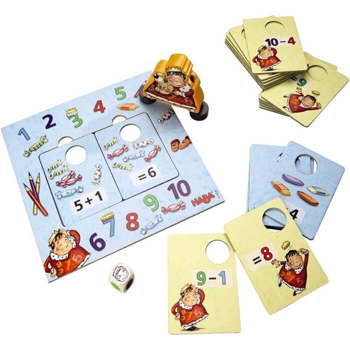 Образователна игра Кралят на пресмятането картони с числа и шаблони за смятане HABA