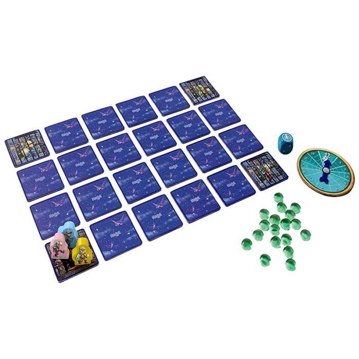 Образователна игра Ловци на духове фигури картонени карти и зар HABA