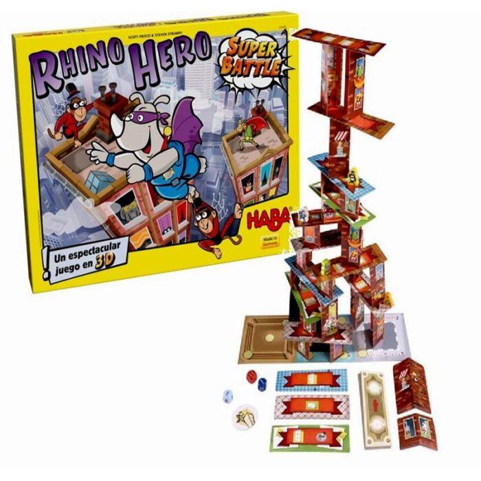 Образователна игра Носорог герой Super Battle кула от картонени шаблони и карти кутия HABA