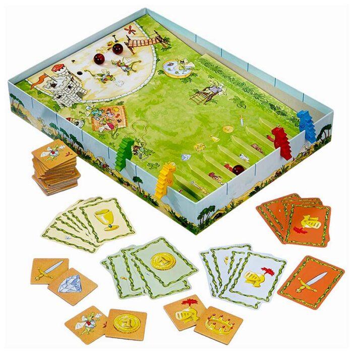 Образователна игра Съзтезанието на дракона Диего игрално поле карти и дракони HABA