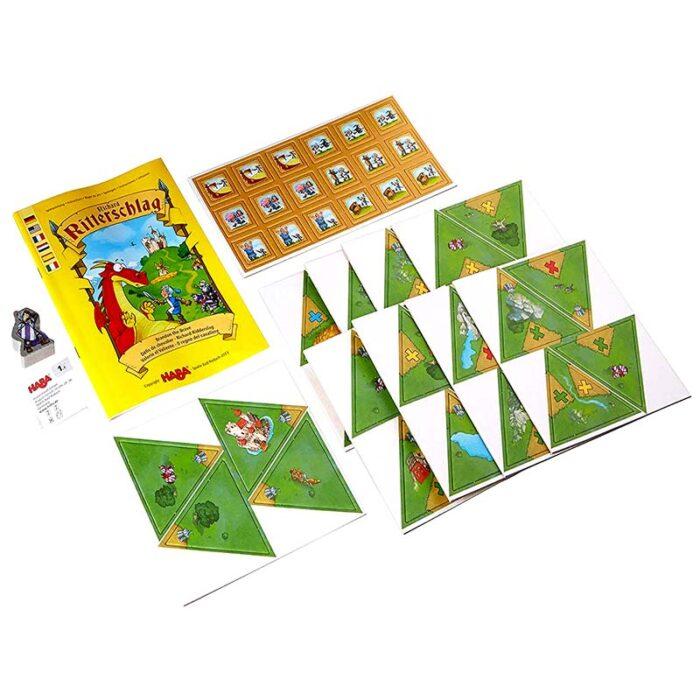 Образователна игра Смелият рицар съдържание на кутията HABA