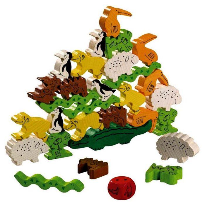 Образователна игра Животно върху животно- Джунгла дървени фигурки животни една върху друга HABA
