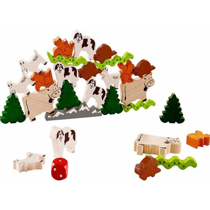 Образователна игра Животно върху животно-Горски животни дървени фигурки с животни HABA