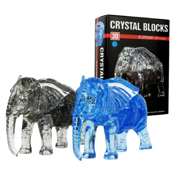 Кристален пъзел Слонче черен и син слон и кутия