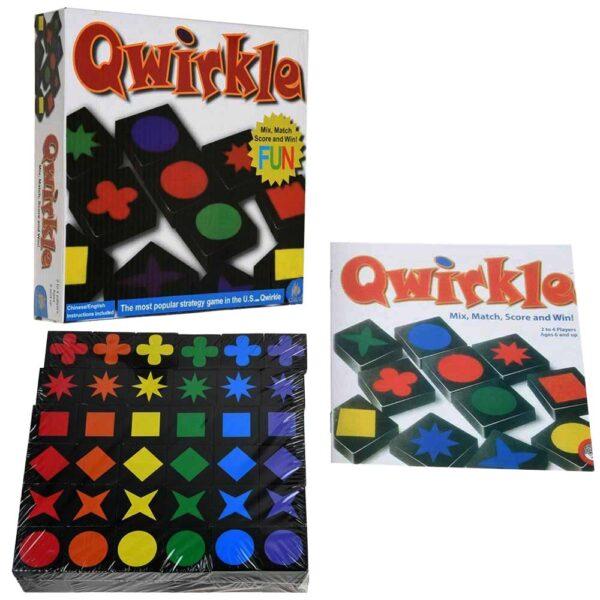 Настолна игра Qwirkle плочки с различни цветове и форми кутия