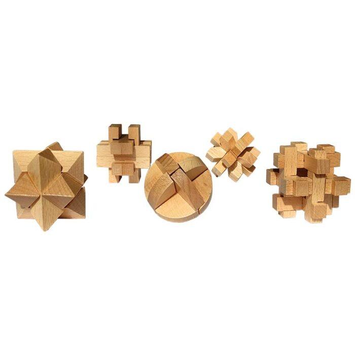 Дървени пъзели Комплект от 5 игри