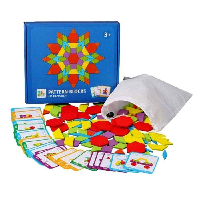 Геометрични фигури (Монтесори) Pattern Blocks елементи кутия карти