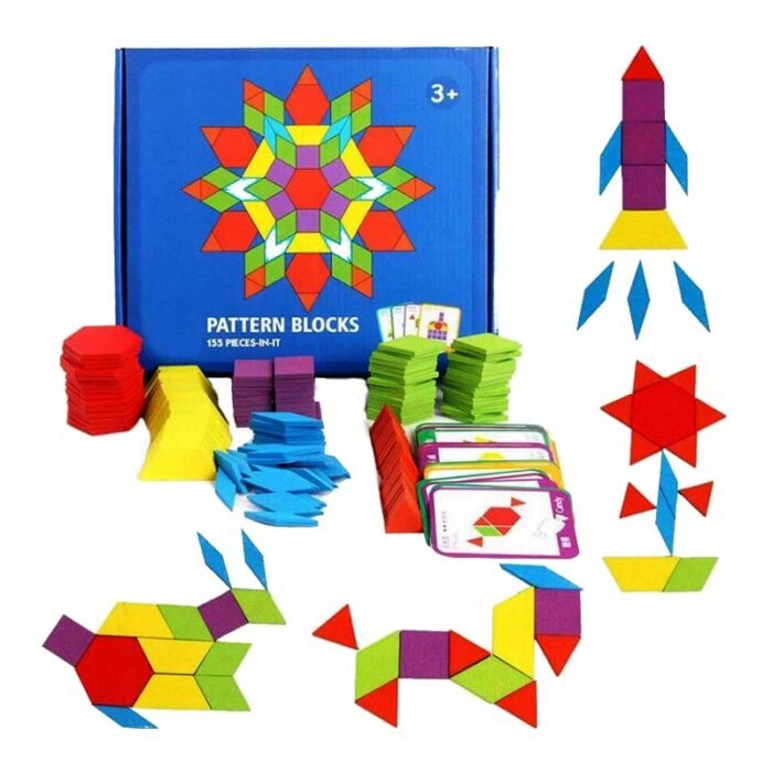 Геометрични фигури (Монтесори) Pattern Blocks елементи кутия карти и фигури