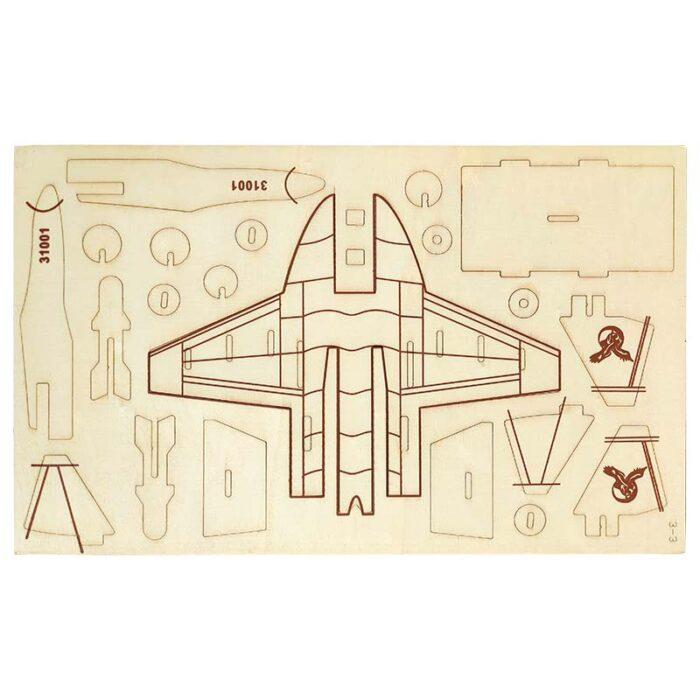 3D Дървен пъзел - Боен самолет J-31 части